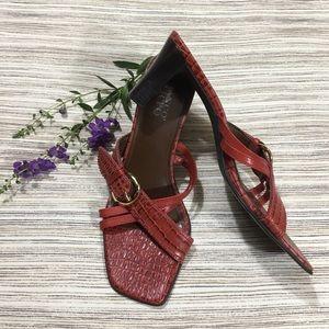 Chic Franco Sarto red snakeskin strap sandals sz 8